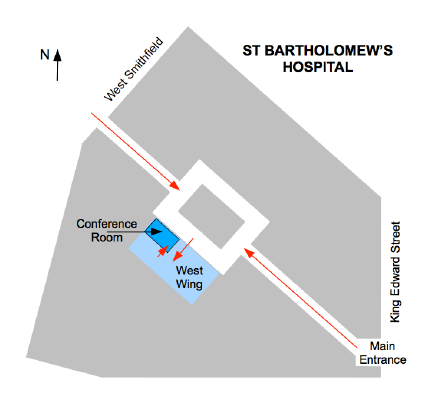 Map showing West Wing Conference Room at St Bartholomew's Hospital