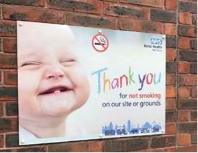 A photo of stop smoking sign outside one of our hospitals