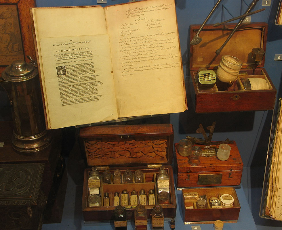 Displays at the Royal London Hospital Museum