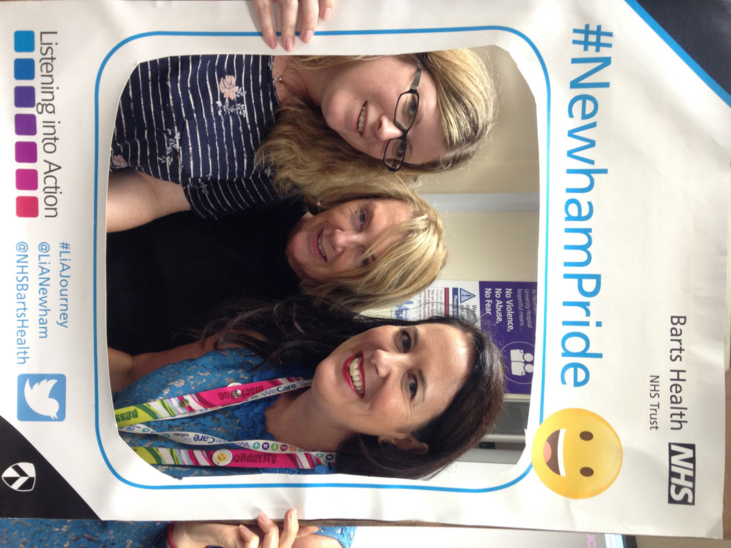 Julie Stacey, Linda Marling and Catriona Rowland from the quality improvement team in the party spirit